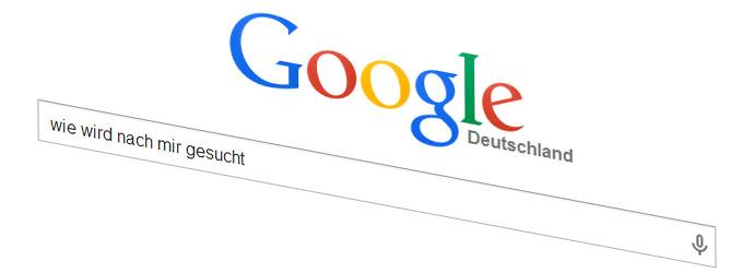 wie wird bei google nach einem Wort gesucht und wie nach mir