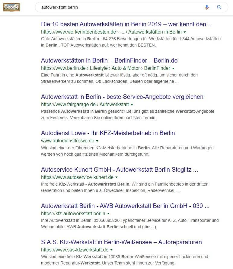 Meta-Title-Tags im Google Ergebnis von heute