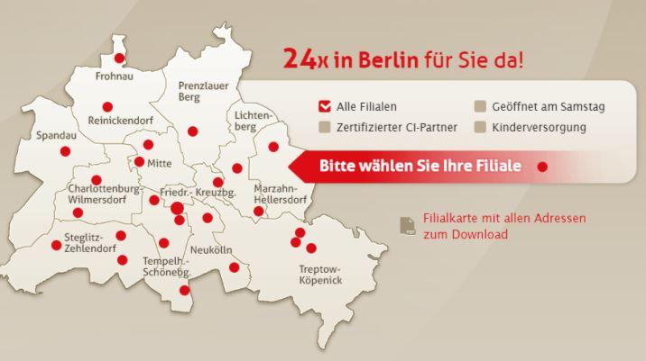 Filialkarte Berlin - gutes Local SEO Beispiel