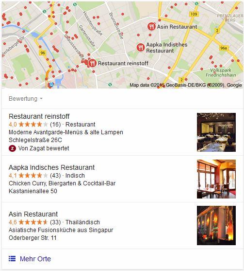 Google Maps Snippet im SERP - Local SEO Schritt 1