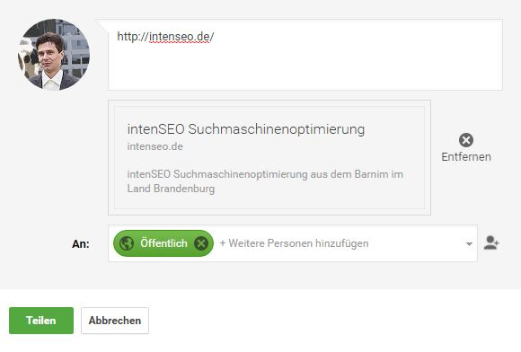 Website bei Google registrieren mit Google Plus share