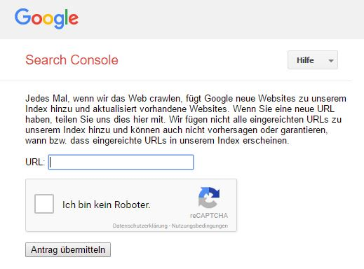 Website bei Google anmelden via Submit
