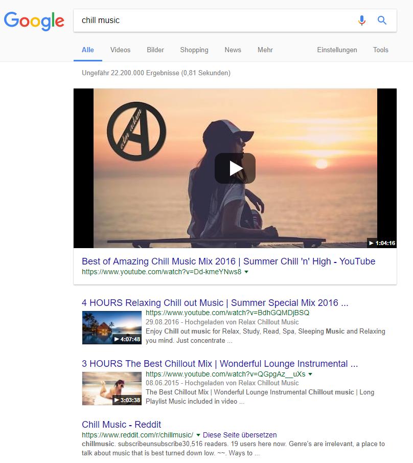 Videos in der Google Suche