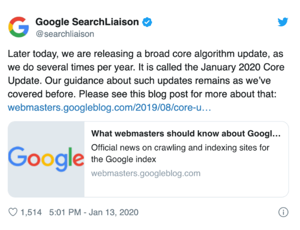 Google Core Update Ankündigung Twitter