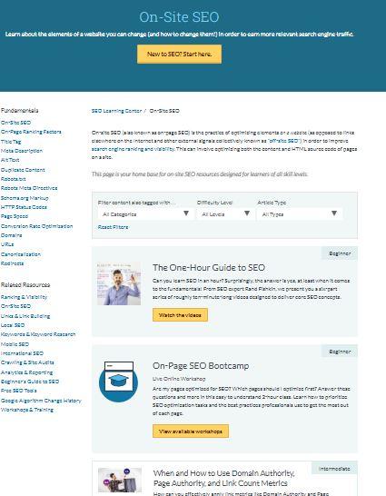 Hub-Seite von Moz-Onsite-SEO