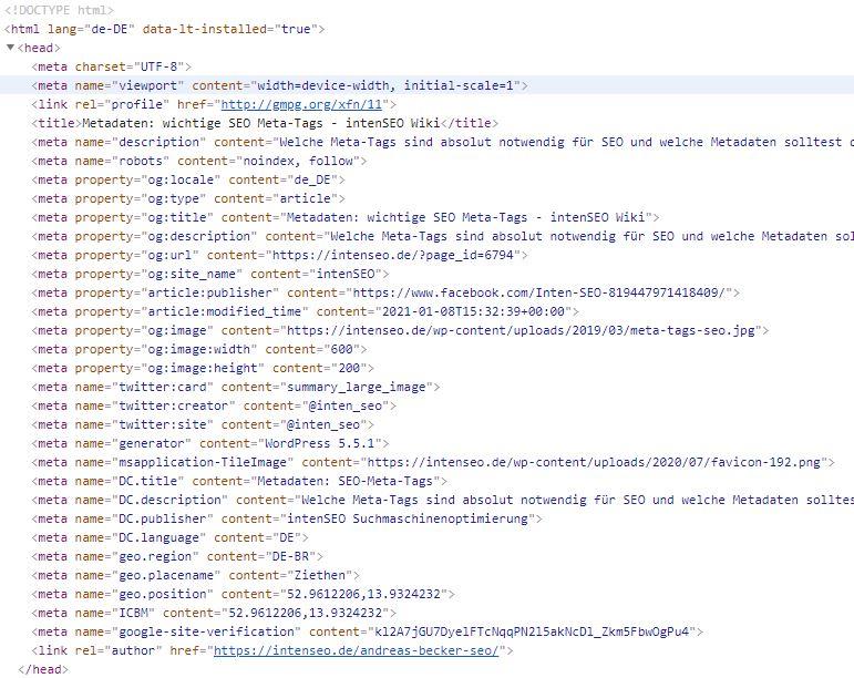 Metadaten: SEO-Meta-Tags in HTML